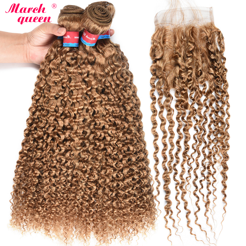 Indian Curly Weave Human Hair 4 Bundles With Closure 27 Honey Blonde Color Hair Weaving 100