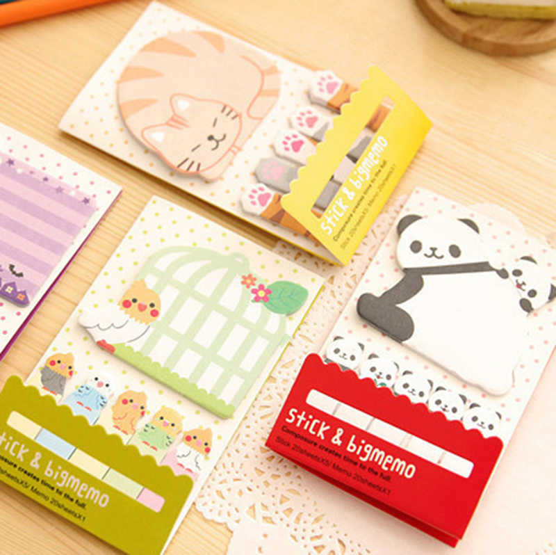 Lovely Animal Gato Panda Escola Fornece Planejador Adesivos Sticky Notes Memo Pad Papel Bookmarks Papelaria Coreano