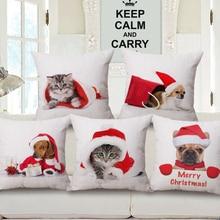 Linen Cotton Throw pillows Christmas Dog Cat pet Santa Printed Cushion Covers Home Sofa Bedding pillow Case Cover 45x45cm B421A
