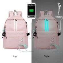 Tourya Fashion z zabezpieczeniem przeciw kradzieży odblaskowy wodoodporny plecak dla kobiet USB Charge torby szkolne dla dziewczynek plecak na laptopa Bookbags