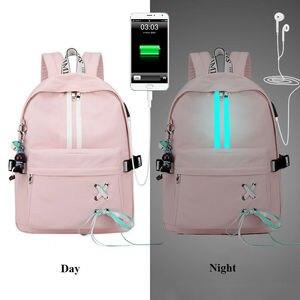 Image 1 - Tourya אופנה אנטי גניבה רעיוני עמיד למים נשים תרמיל USB תשלום לנערות נסיעות מחשב נייד תרמיל Bookbags