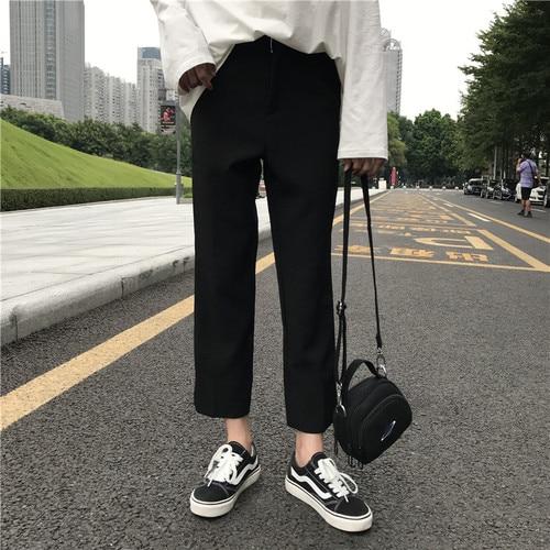El precio real se ha comprobado. Versión coreana de alta calidad cintura, nueve puntos, trajes, pantalones, pantalón negro, señoras.