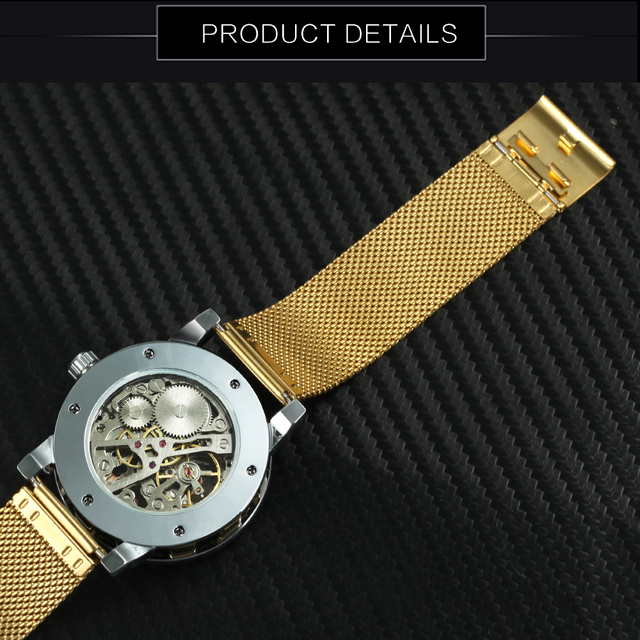 WINNER Fashion Top Brand Luxury Skeleton Dial Crystal Iced  3