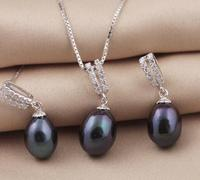 Selling Jewelry>>> Solid 925 Sterling Silver Jewelry Set For Women Real Freshwater Black Pearl Necklace Earrings Water