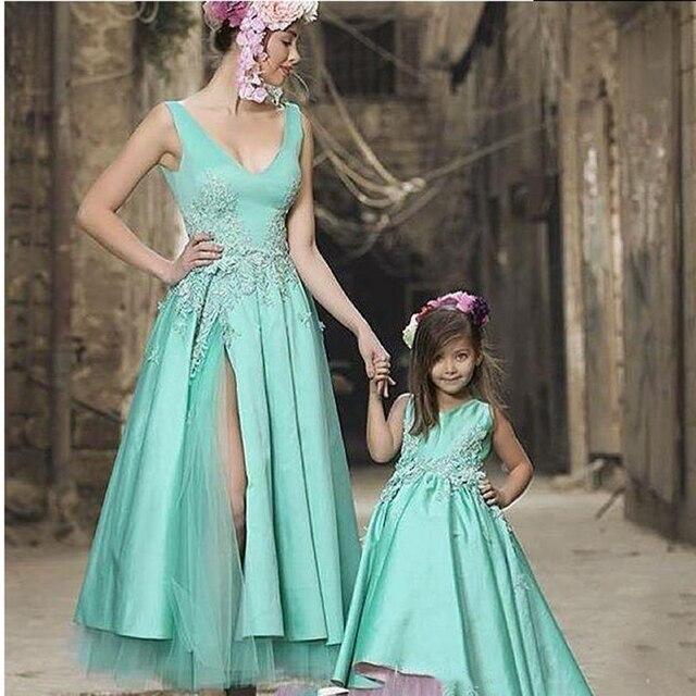 Women  Dress Hot Evening Dress Mother Gown V Neck Split Satin Formal Dress  Little Daughter Gown Jewel Neck Ball Gown a183125087b6