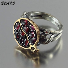 BOAKO Vintage Women Rings Pomegranate Design Faux Garnet Ladies Ring bagues pour femme Rattan Antique Silver bague