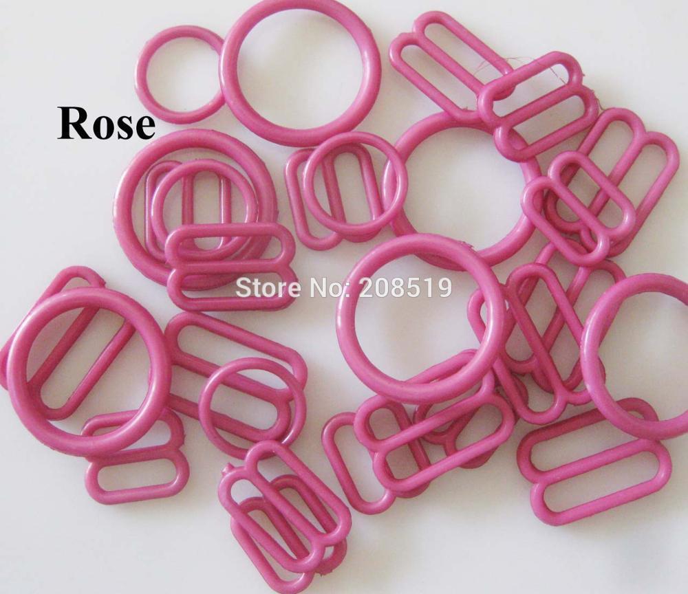 NBNLAE 100 шт. пряжки для бюстгальтера(50 шт. уплотнительное кольцо+ 50 шт. 8 слайдеров) красочные пластиковые пряжки нижнее бельё с пуговицами аксессуары - Цвет: rose as show