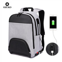 OZUKO Fashion Man Backpack USB Charging 15.6inch laptop Backpacks School Bag For Teenage Male Travel Mochila Patchwork Back Pack(China)