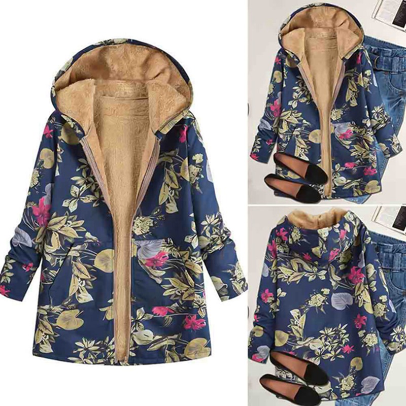 4c0b08f072675 2019 Womens Autumn Winter Outwear Floral Print Hooded Pockets Vintage  Oversize Coats Fashion Long Sleeve Zipper Thick Top