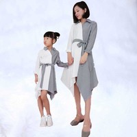 Mother and Daughter Dresses Clothes Fashion Family Clothing Family Set Patchwork Irregular Dress Family Matching Outfits Look