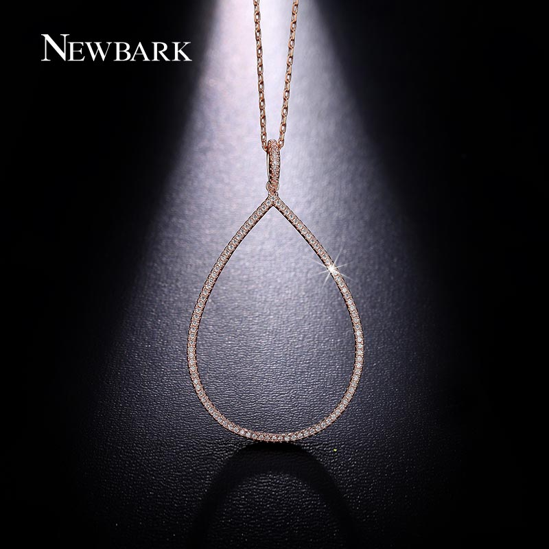 NEWBARK Water Drop Pendant Necklaces Fashion Women's Stone Shine Oval Circles with Chain Necklace Jewelry collares mujer