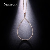 NEWBARK Cubic Zirconia Paved Women Big Open Teardrop Pendant Necklace 18k Rose And White Gold Plated