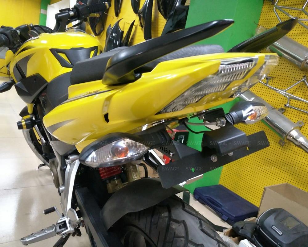 License plate holder for bajaj pulsar ns 200 180 150 135 motorcycle rear fender eliminator registration frame bracket led light in covers ornamental