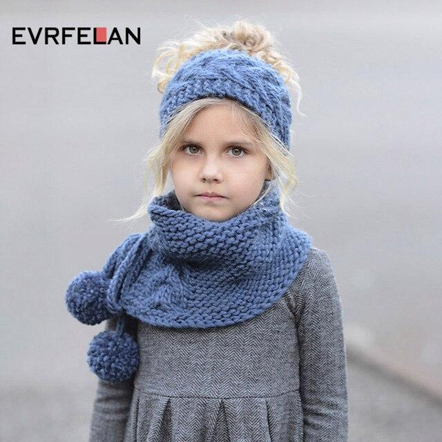 Evrfelan nuevo invierno cálido bebé niños niñas sombrero bufanda conjunto  lindos sombreros de algodón tejidos para 4a48a68879c