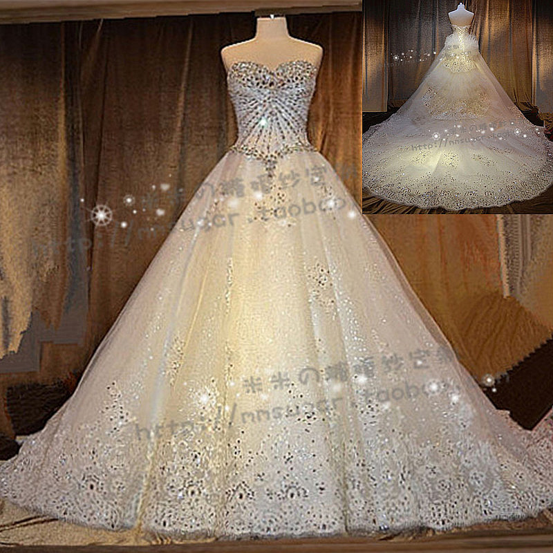 a835e2c83ff046 Stella free shipping gown Luxury SWAROVSKI crystal bling tube top big train  princess wedding dress formal dress-in Wedding Dresses from Weddings    Events on ...