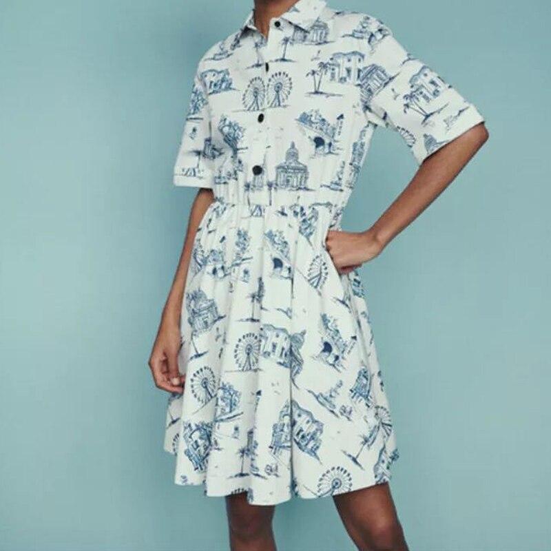 Femmes robe 2019 printemps et été imprimer décontracté taille unique robe droite