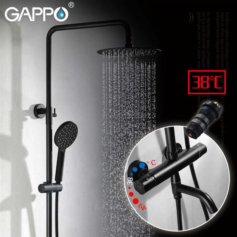 GAPPO Thermostatic ระบบ Chrome สีดำก๊อกน้ำห้องน้ำ Bath Shower Mixer ชุดน้ำตก Rain Shower อ่างอาบน้ำก๊อก