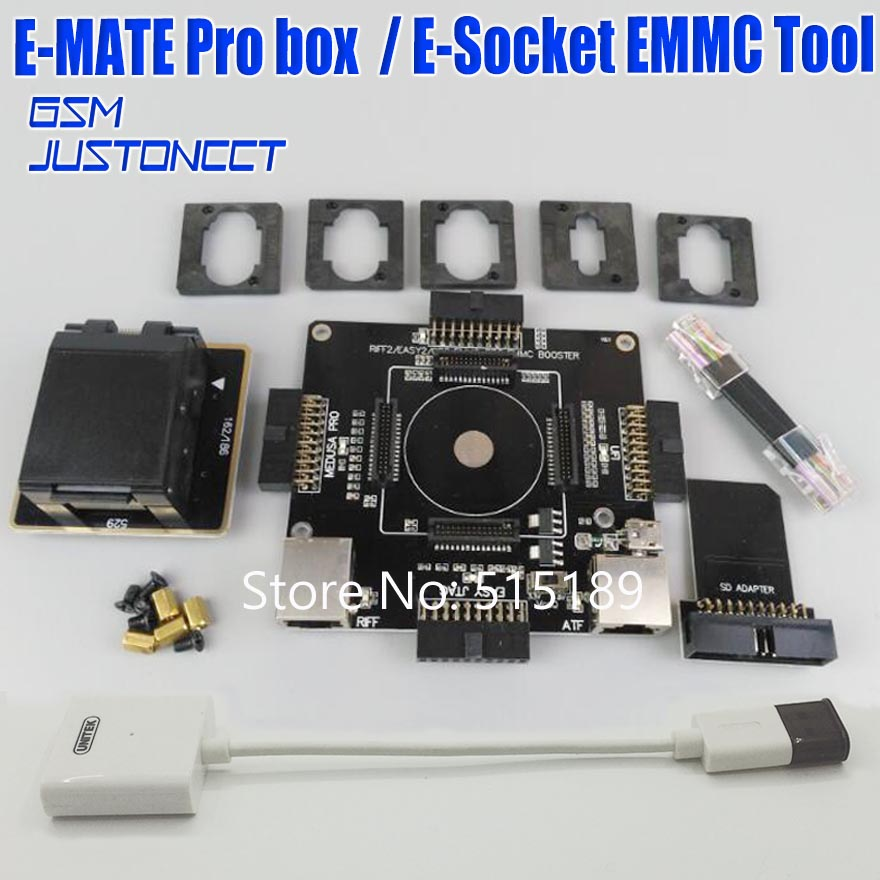 E-mate Box Emate Pro Box E-Socket EMMC TOOL 6 In 1 No Weldin BGA -153/169, BGA -162/186,BGA -529, BGA -221+SD Reader 3.0