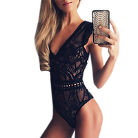 Cut Out Sexy Lace Bodysuit Rompers Women Jumpsuit Sleeveless Beach Summer Bodysuits White Black Mesh Body