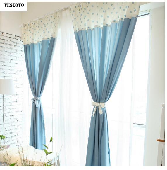 VESCOVO Blauwe gordijnen voor woonkamer raam linnen gordijnen katoen ...