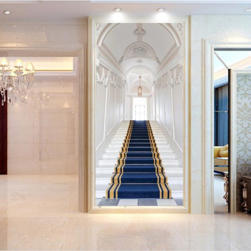 Us 22 37 40 Off Luxury European Wall Murals Entrance Hallway 3d Wallpapers Stairs Seamless Flash Silver Non Woven Wallpapers For Living Room In