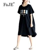 F & je 2017 yaz yeni moda kore style kadın giyim gevşek rahat kısa kollu elbiseler yüksek kalite pamuk uzun dress j897
