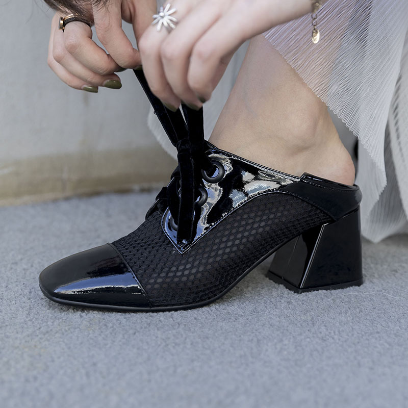 Style propriétaire 2018 nouveau trou de maille bout carré unique femmes chaussures Chunky pompes à talons hauts femmes chaussures à lacets casual Mules lacets chaussures - 5