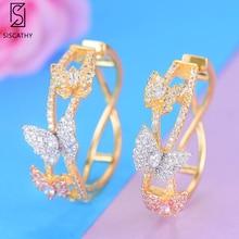 SisCathy New Luxury Cubic Zircon Butterfly Statement Earrings For Women Wedding DUBAI Bridal Round Big Circle Hoop