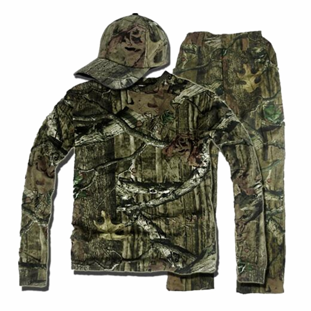 Cotton Breathable Bionic Camouflage Long Sleeve T-Shirt Pants Set Men Women Hunting Fishing Hiking Hooded T-Shirt Ghillie Suits