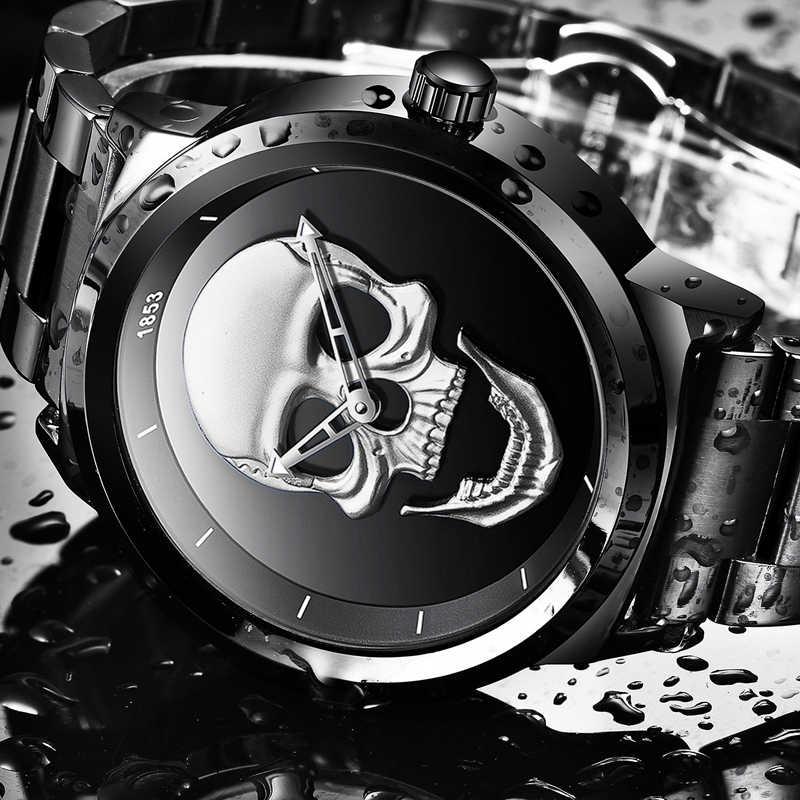 2018 Cool Punk 3D crâne hommes montre marque LIGE de luxe en acier Quartz mâle montres étanche rétro mode or noir horloge Relogio