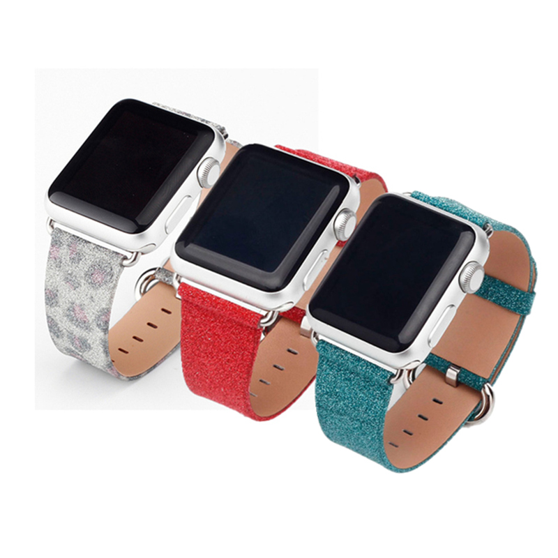 Bling Leather strap for apple watch band 42mm/38mm leather watchband bracelet wrist belt For iwatch series 3/2/1 Christmas gift цена