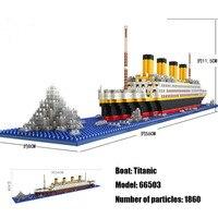 1860 шт. совместимые LOZ RMS titanic модель круизного корабля лодка DIY Алмазные Строительные блоки Набор кирпичей детские игрушки подарки