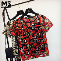 Mooishe Summer Embroidered T Shirt Women Floral Lace Tops O Neck Short Sleeve 2 In 1