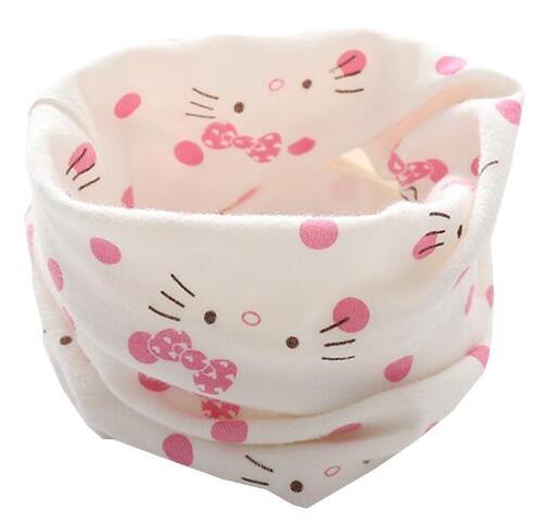 Новинка; сезон осень-зима; шарф из хлопка для девочек; Детский шарф; нагрудный шарф для мальчиков и девочек с круглым кольцом; милый детский шарф с воротником; Bufandas - Цвет: white cat