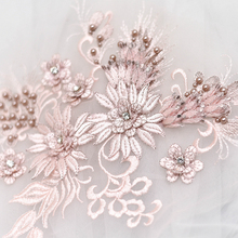 1Piece Beads Flower Embroidered Mesh Fabric High Quality Lace Collar Sewing Craft Lace Applique Neckline DIY Clothing Accessory