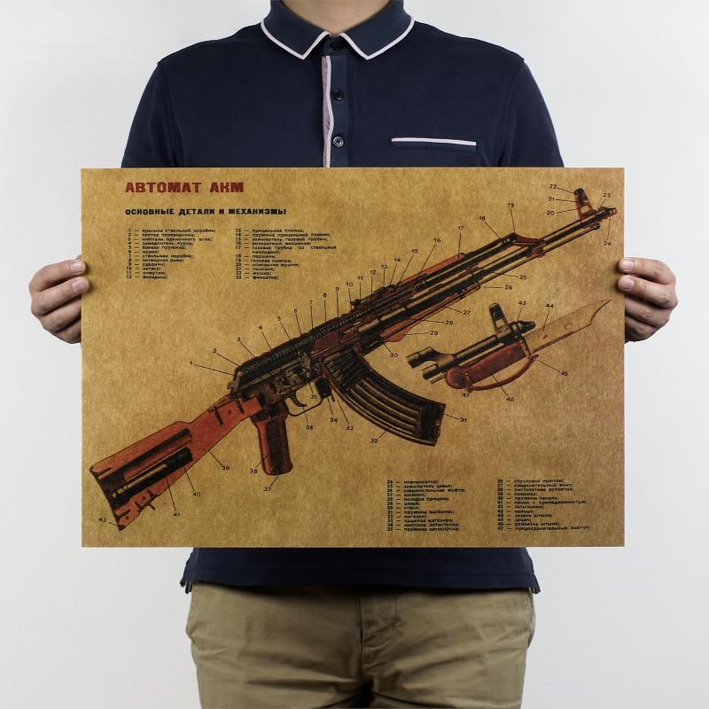 विंटेज रेट्रो AK47 बेहतर संरचना डिजाइन पेपर पोस्टर 50 x 35 सेमी बार वॉल सजावट