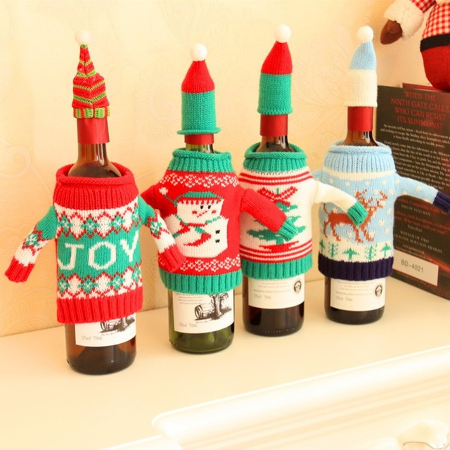 Red Christmas Wine Bottle Cover Decoration for Home Xmas Cute Snowmen Home Table Decoration New Years Gift Party Supplies