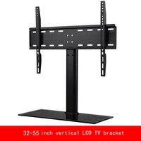 VESA стандарт 32 55 дюймовый двигаться вверх или вниз монитор компьютера ЖК дисплей ТВ кронштейн вертикальный закаленное стекло база стент