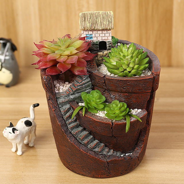Resin Flowerpot Mini Hanging Garden Maceteros Succulent Plants Pot Stand Flower Pots Bonsai Home Decoration Nursery