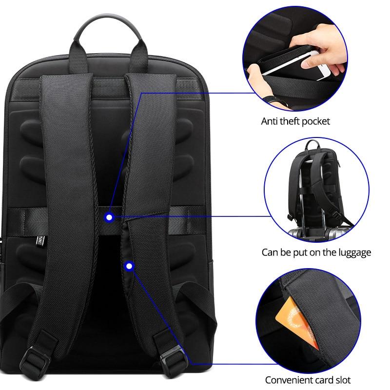 BOPAI Slim Laptop Backpack Men 15.6 inch Office Work Men Backpack Business Bag Unisex Black Ultralight Backpack Thin Back Pack (Black)