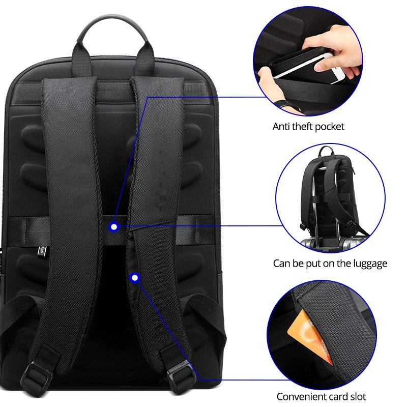 BOPAI Mince sac à dos pour ordinateur portable Hommes 15.6 pouces Bureau Travail Hommes Sac À Dos sac de travail Unisexe Noir Ultra-Léger Sac À Dos Mince sac à Dos - 5