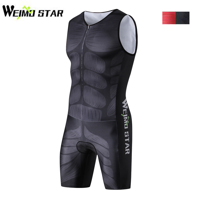 WEIMOSTAR Men One Piece Compressed Ciclismo Cycling Jersey Maillot Breathable Triathlon Clothes Sleeveless Muscle Sportswear