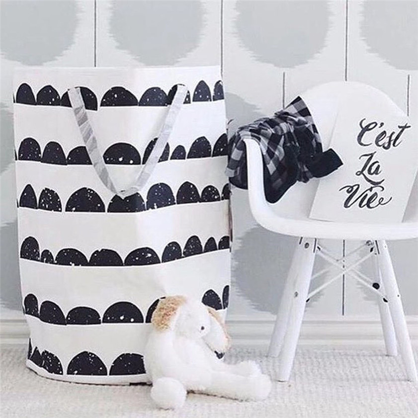 Storage Bag Organizer Cotton Canvas Printing Laundry Durable Pouch Clothes Baby Kids Wall 2018 C#