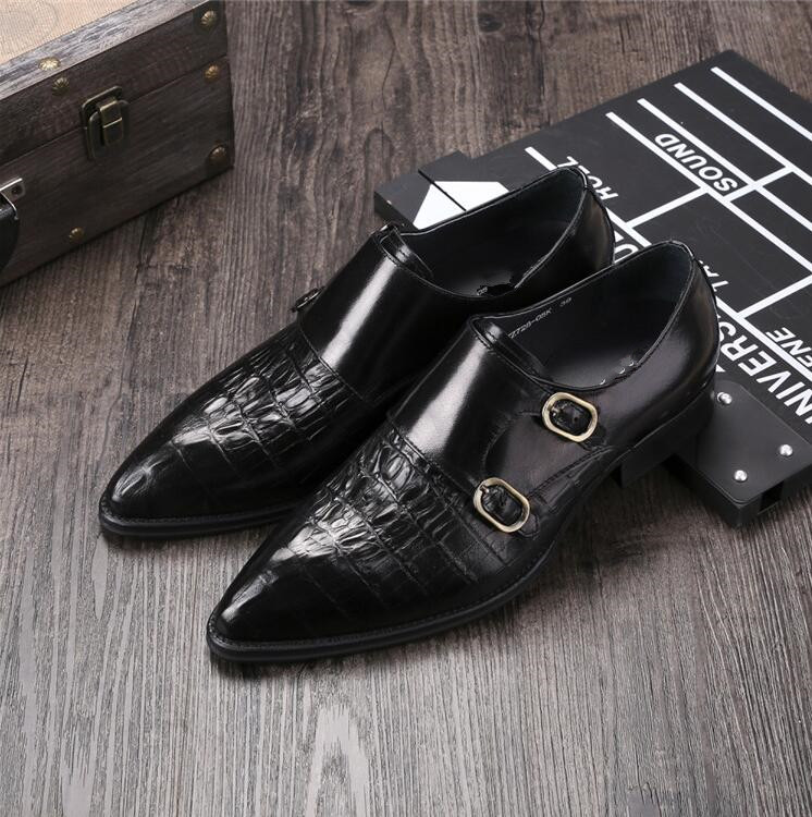 Spring Man Italian Leather Oxfords Shoes 2018 Boss Buckle Strap Shoes Mens Single Monk Strap Shoes Pointed Toe Gents Oxfords 2016 luxury mens goodyear welted oxfords shoes vintage boss brogue shoes italian mens dress shoes elegant mens gents shoes derby