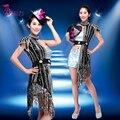 Женская современный танец костюм блестками куртка топ с коротким комплект одежды яркий сексуальная певица костюмы блестка джаз костюмы