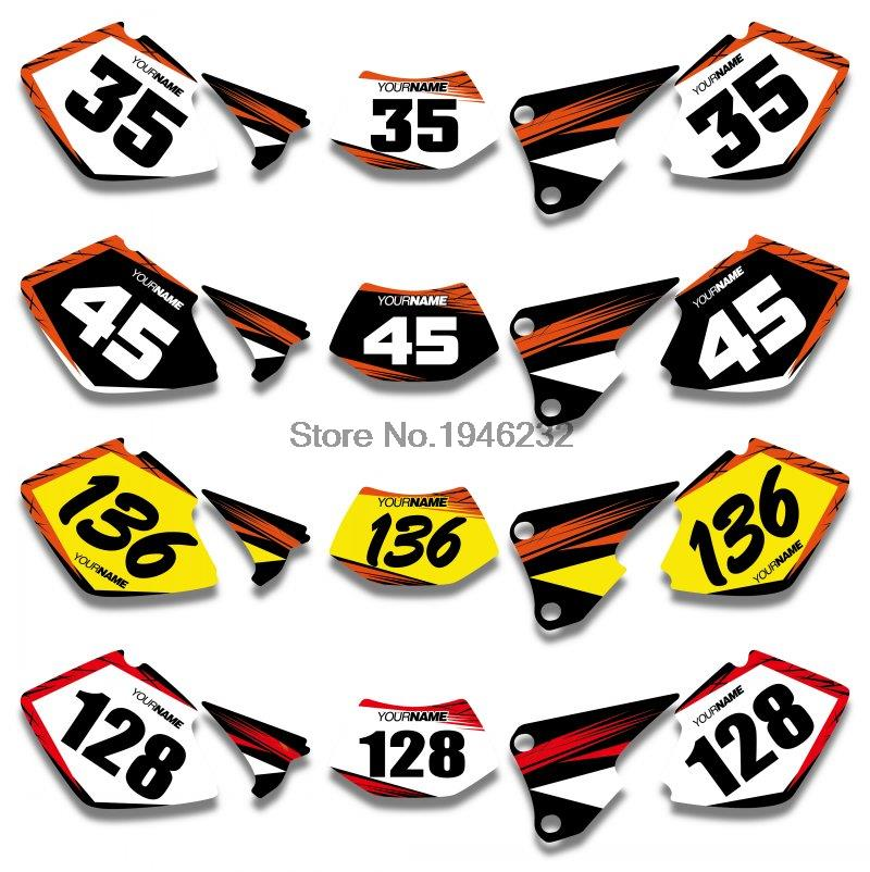 Custom number plate backgrounds graphics sticker decals kit for ktm exc 125 200 250 300 400 450 525 2003 in decals stickers from automobiles
