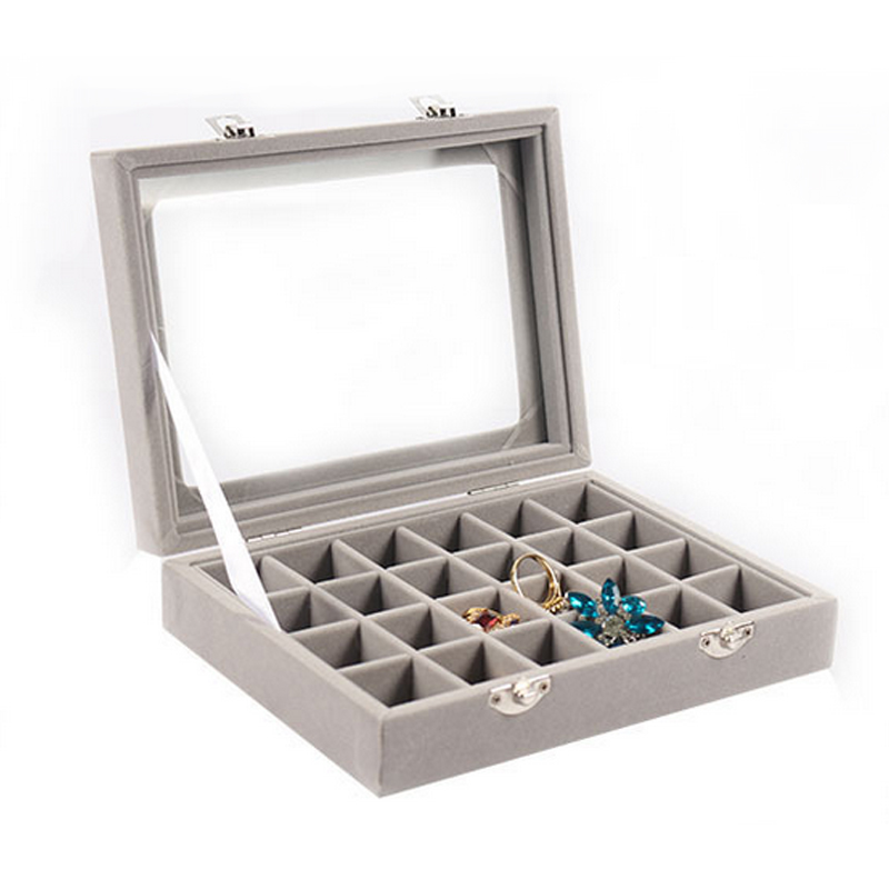 Mordoa Grey 24 Slot Velvet Glass Jewelry Box Organizer Rings Earrings Tray Display Storage CaseMordoa Grey 24 Slot Velvet Glass Jewelry Box Organizer Rings Earrings Tray Display Storage Case