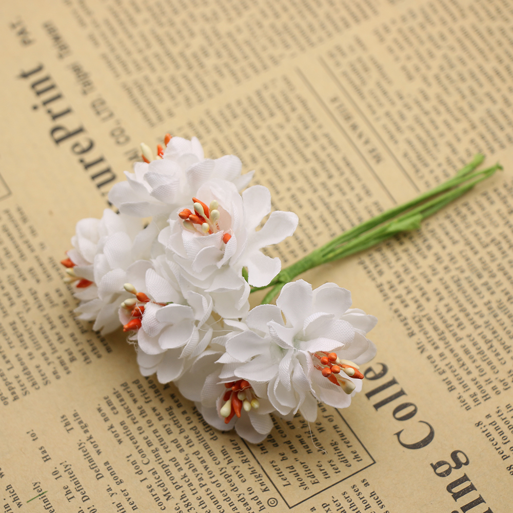 Шт. 6 шт. шелк градиент тычинки Искусственные цветы ручной работы букет для свадьбы украшения дома DIY Скрапбукинг венок поддельные цветы