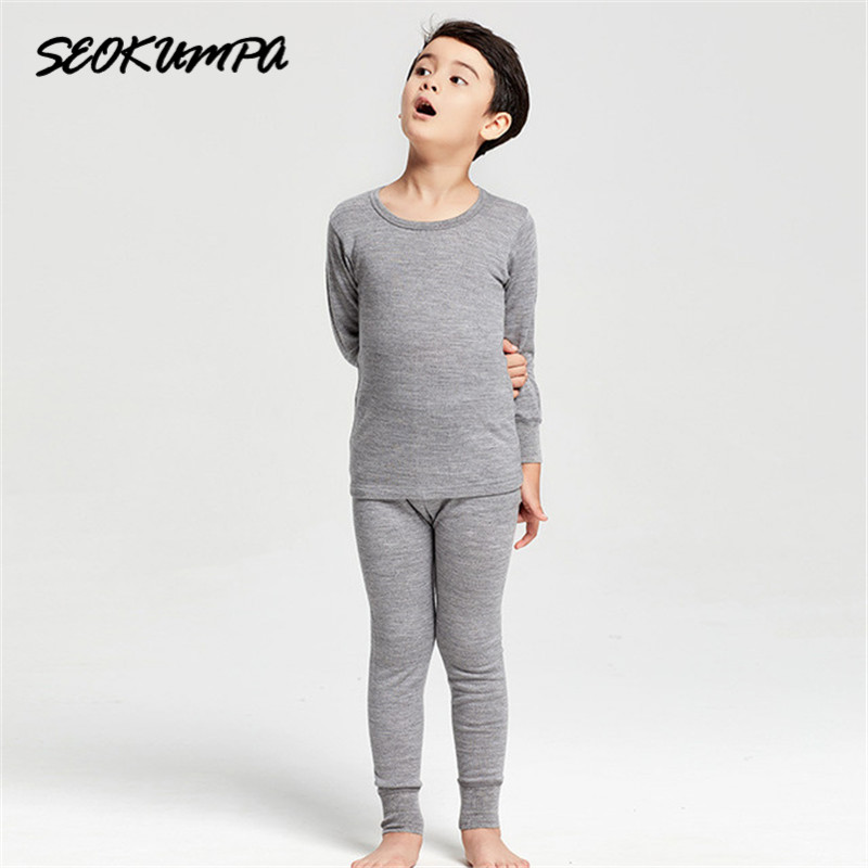 2018 Winter New Kids Pajamas Sets 100%Pure Wool Clothes Pijamas Baby Boys Girls Solid Long Sleeve T-shirt+Pants 2pcs Thermal Set 2017 spring new girls set casual letter girls t shirt long sleeve kids pants pocket solid simple 2 pieces clothes 4696w