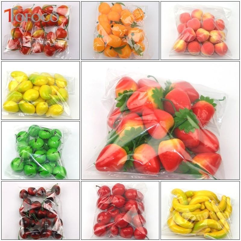 TOFOCO 20 pçs/set Plástico Simulação Mini Falso Decoração De Frutas Laranja Limão Maçã Morango Artificial Adereços Modelo House Party Decor
